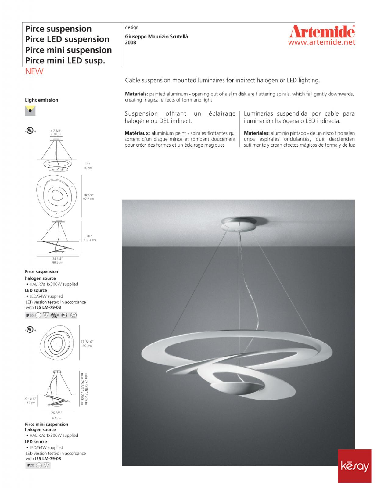 Pirce mini suspension light artemide - Cable suspension luminaire ...
